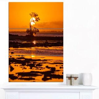 Designart 'Lonely Mangrove in Florida Coast' African Landscape Art Print Canvas