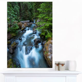 Designart 'Rushing Water in Forest Creek' Extra Large Landscape Canvas Art