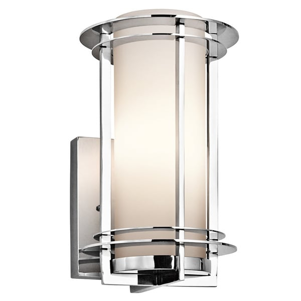 Kichler lighting pacific edge collection 1 light polished stainless steel outdoor wall sconce