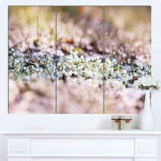 Designart 'Little White and Pink Flowers' Large Flower Wall Artwork