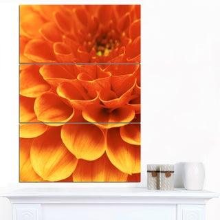 Designart 'Dark Abstract Yellow Flower Petals' Modern Floral Canvas Wall Art