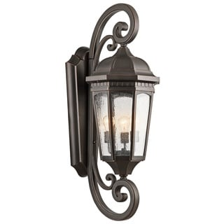 Kichler Lighting Courtyard Collection 3-light Rubbed Bronze Outdoor Wall Sconce