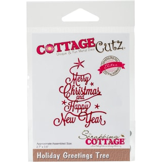 "CottageCutz Elites Die -Holiday Greetings Tree, 2.7""X3.6"""