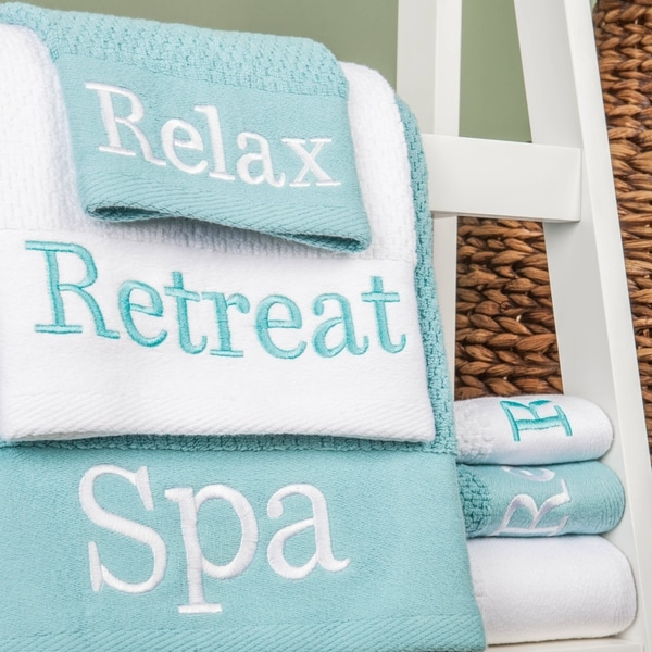 "Embroidered ""Spa, Relax, Retreat"" 3-Piece Towel Set"