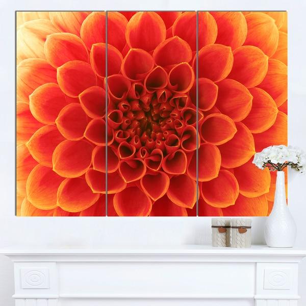 Designart 'Orange Abstract Flower Petals' Modern Floral Canvas Wall Art - Orange