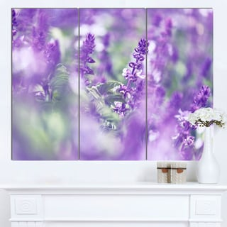 Designart 'Beautiful Purple Mint Flowers' Large Flower Canvas Wall Art