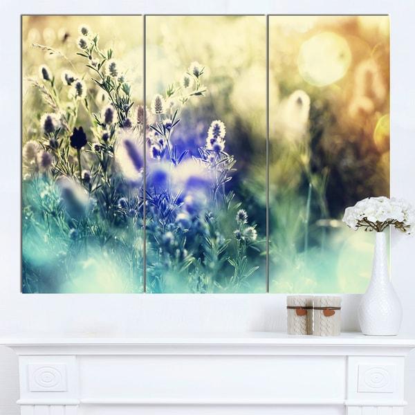 Designart 'Blue Mountain Meadow Flowers' Modern Flower Canvas Art Print - Blue