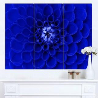 Designart 'Abstract Blue Flower Design' Extra Large Floral Canvas Art