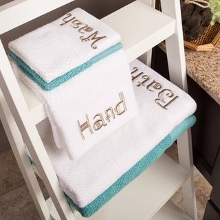 "Embroidered ""Bath, Hand, Wash"" 3-Piece Towel Set"