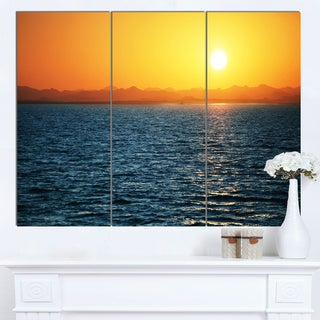 Designart 'Beautiful River View At Sunset' Large Seashore Canvas Print