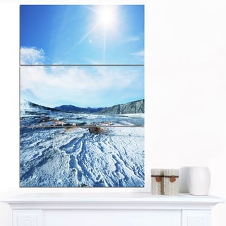 Designart 'Hot Spring with Bright Sky and Sun' Oversized Landscape Canvas Art