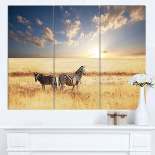 Designart 'Zebras in Beautiful Grassland At Sunset' Extra Large African Art Print