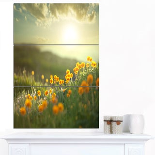 Designart 'Yellow Flowers in Meadow At Morning' Large Flower Canvas Artwork