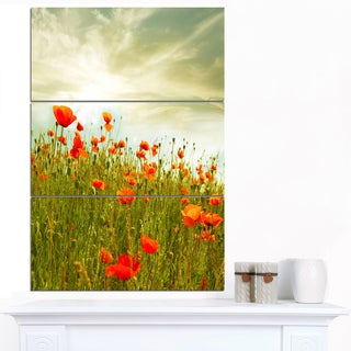 Designart 'Red Poppy Flowers in Green Field' Extra Large Floral Canvas Art