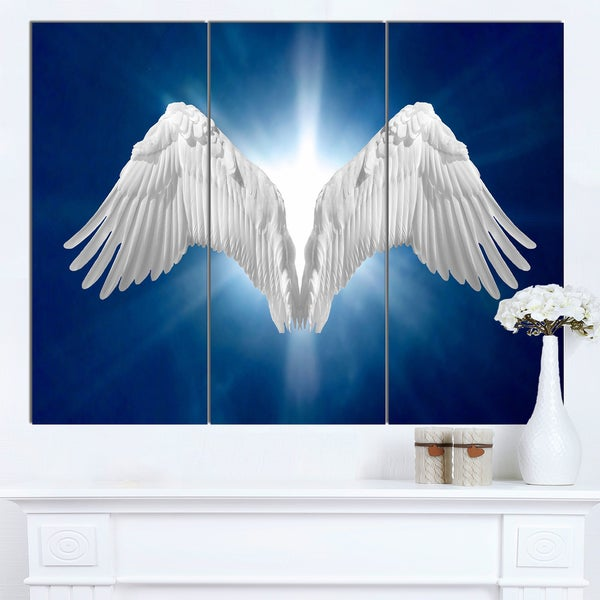 Designart 'Angel Wings on Blue Background' Abstract Art Canvas