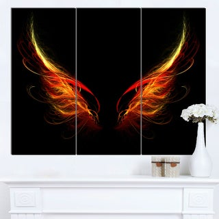 Designart 'Hell Wings on Black Background' Abstract Wall Art Canvas