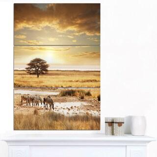 Designart 'Herd of Zebras Drinking Water' Oversized African Landscape Canvas Art