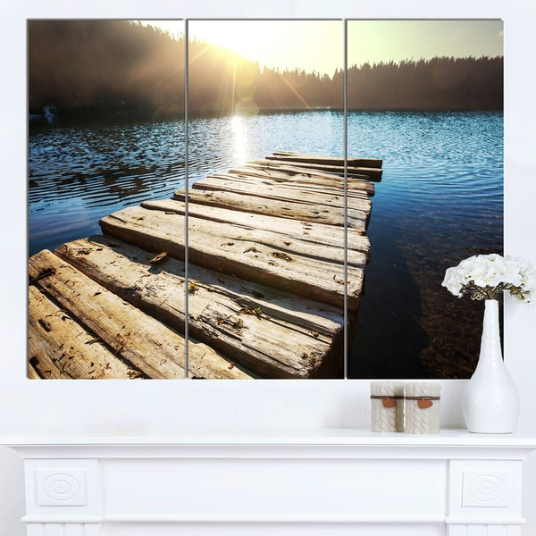 Designart 'Large Wooden Pier into the Lake' Large Seashore Canvas Art