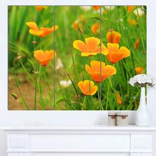 Designart 'Bright Yellow Poppy Flowers' Modern Floral Artwork on Canvas