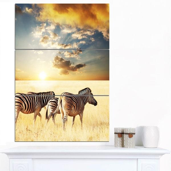 Designart 'Zebras Walking in African Grassland' African Wall Art Print