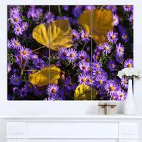 Designart 'Little Purple Flowers and Yellow Leaves' Modern Flower Canvas Art Print