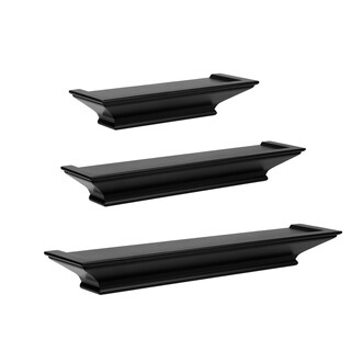 Clay Alder Home Beeson Level Line' Wood Floating Shelves 3-piece Set (Option: BLACK)