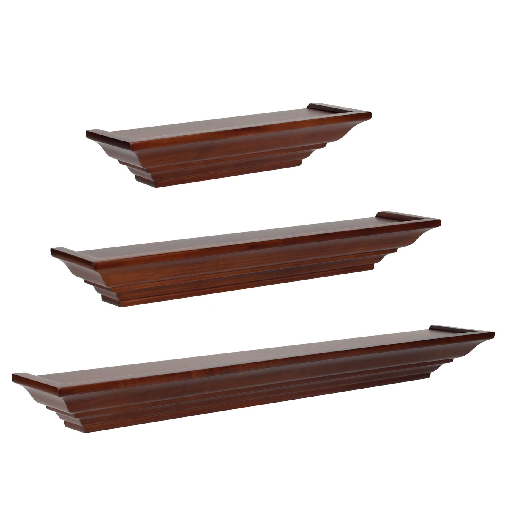 shop clay alder home beeson level line wood floating shelves 3 rh overstock com level line floating shelves Stanley Level