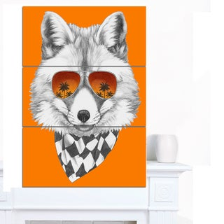 Designart 'Fox with Mirror and Sunglasses' Contemporary Animal Art Canvas