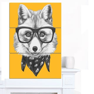 Designart 'Funny Fox with Formal Glasses' Contemporary Animal Art Canvas