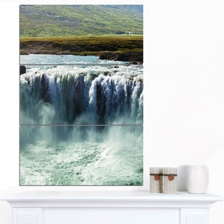 Designart 'Amazing Waterfalls in Iceland' Oversized Landscape Canvas Art