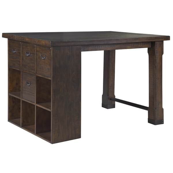 Pine hill asymmetrical counter height desk with cube for Counter height craft table with storage