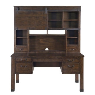 Pine Hill Rustic Pine Secretary Desk with Hutch