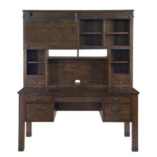 Pine Hill Secretary Desk with Hutch in Rustic Pine