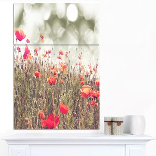 Designart 'Red Poppy Flowers Meadow' Extra Large Floral Canvas Art