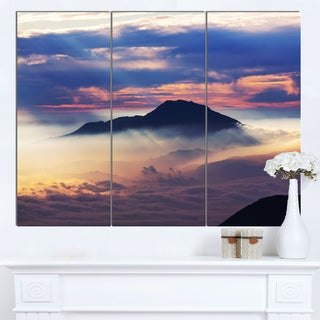 Designart 'Amazing Java Mountain in Fog' Oversized Landscape Canvas Art