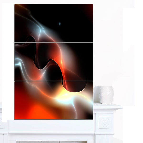 Designart 'Red Black Abstract Warm Fractal Design' Abstract Wall Art Canvas