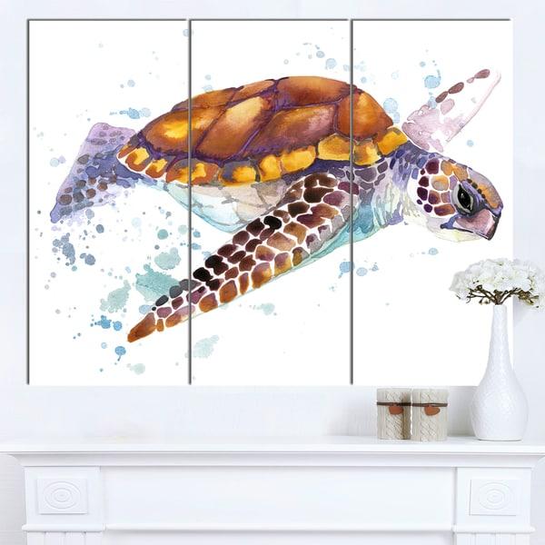Designart 'Brown Sea Turtle Watercolor' Contemporary Animal Art Canvas - multi