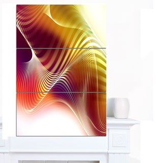 Designart 'Yellow Abstract Warm Fractal Design' Abstract Wall Art Canvas