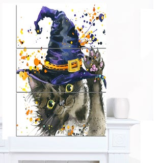 Designart 'Halloween Cat and Witch Hat' Contemporary Animal Art Canvas