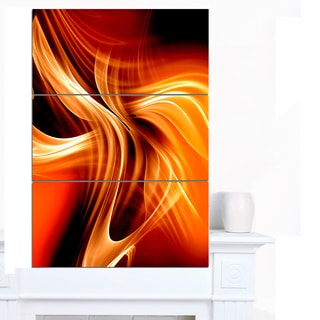 Designart 'Orange Abstract Warm Fractal Design' Abstract Wall Art Canvas