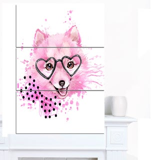 Designart 'Pink Dog with Heart Glasses' Contemporary Animal Art Canvas