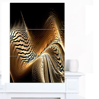 Designart 'Brown Black Abstract Fractal Design' Large Abstract Canvas Art