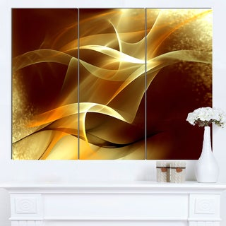 Designart 'Light Yellow Abstract Fractal Design' Large Abstract Canvas Art (As Is Item)