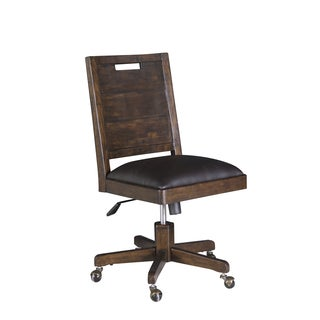 Magnussen H3561 Pine Hill Brown Rustic Pine, Metal, and Faux Leather Adjustable Swivel Chair