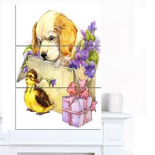 Designart 'Cute Puppy Dog and Duck' Contemporary Animal Art Canvas