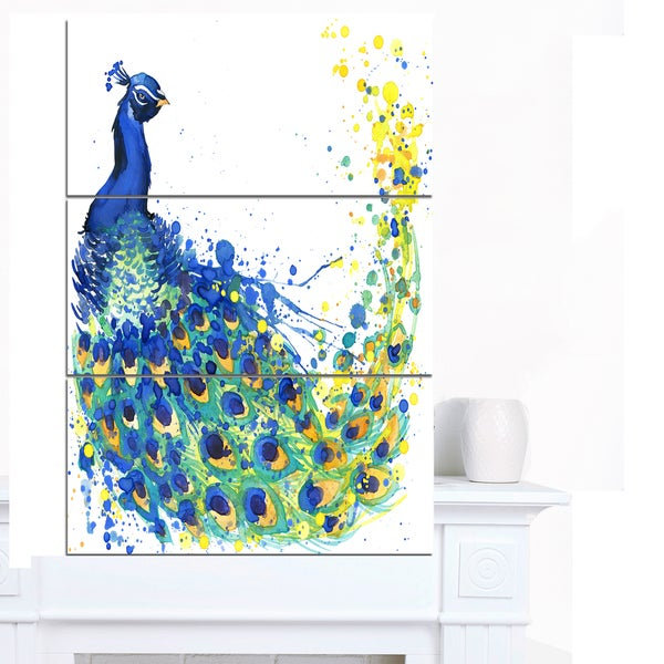 Designart 'Exotic Peacock Watercolor' Contemporary Animal Art Canvas