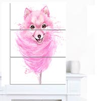 Designart 'Watercolor Pink Dog Illustration' Contemporary Animal Art Canvas