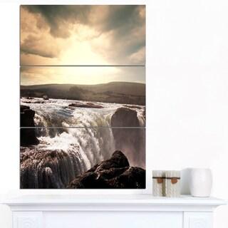 Designart 'White Waterfalls in Iceland' Large Seashore Canvas Print