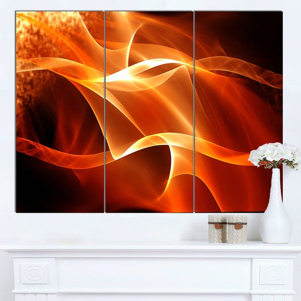 Shop Designart \'Orange 3d Abstract Fractal Waves\' Contemporary ...