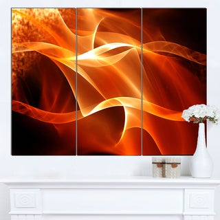 Designart 'Orange 3d Abstract Fractal Waves' Contemporary Abstract Wall Art